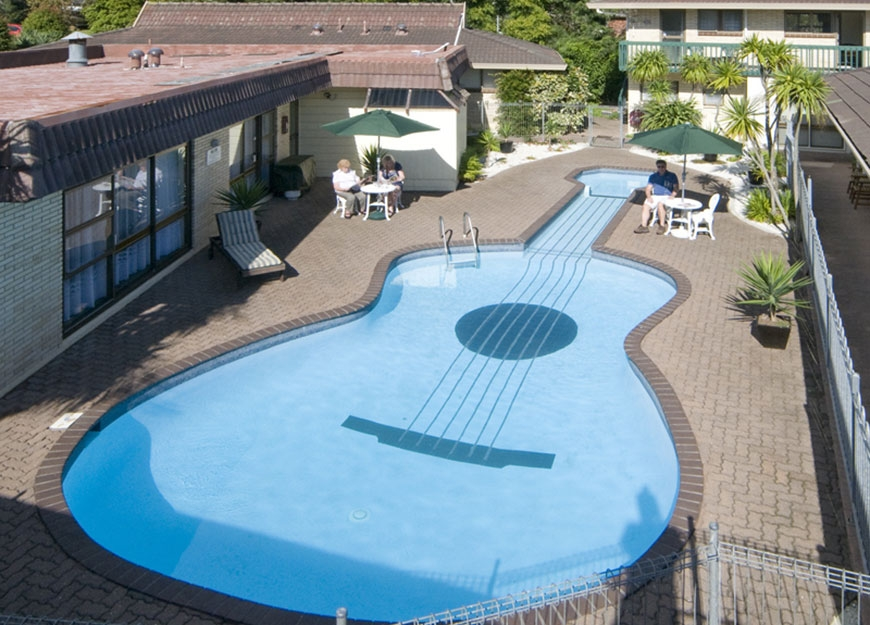 enjoy swimming in our large unique pool