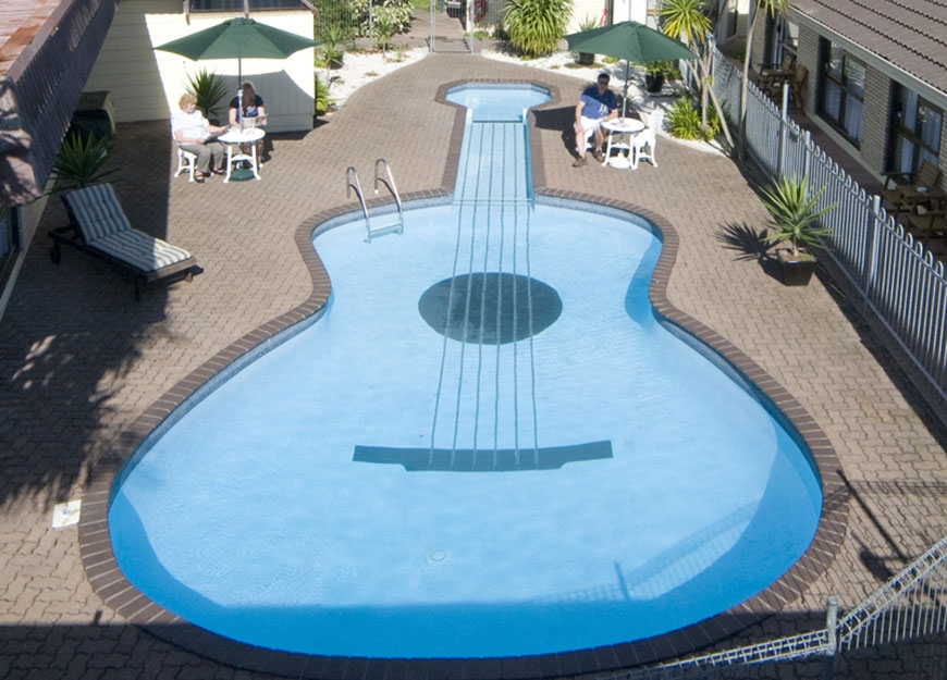 our famous guitar-shaped swimming pool