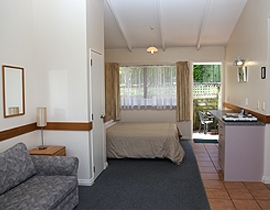 executive studio accommodation with a queen-size bed and a pull-out couch
