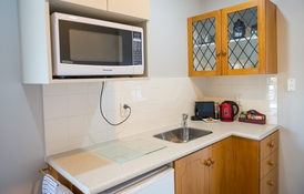 kitchen with microwave and fridge