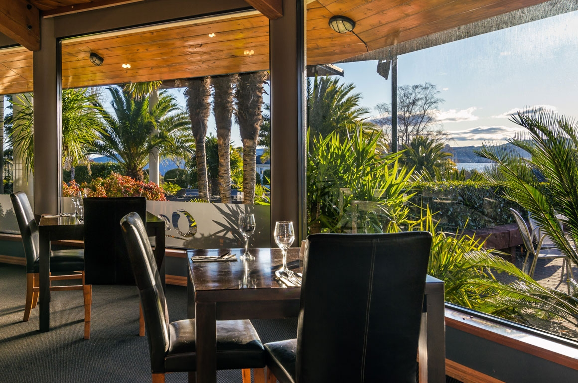 enjoy lovely views over the hills while you dine in