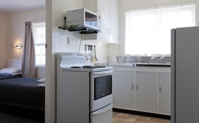 each unit has a kitchen with microwave and fridge
