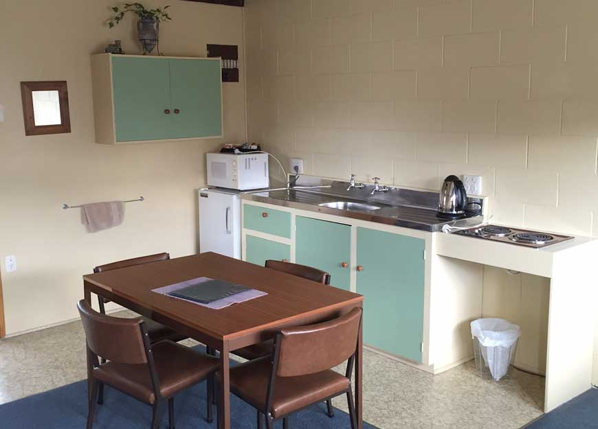 full kitchen facilities in one and two bedroom units