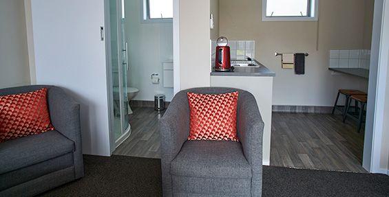 Executive Twin Studio Units bathroom and kitchentte