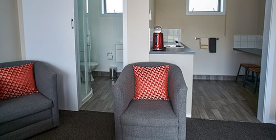 Twin Studio Units bathroom and kitchentte