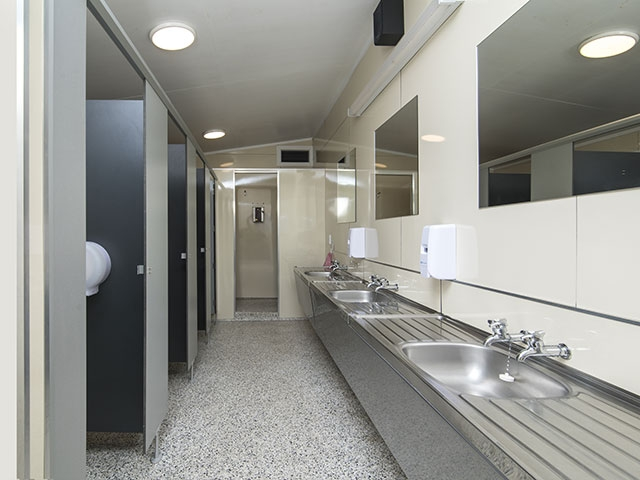 showers and toilets