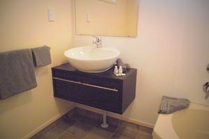 clean and spacious ensuite bathroom