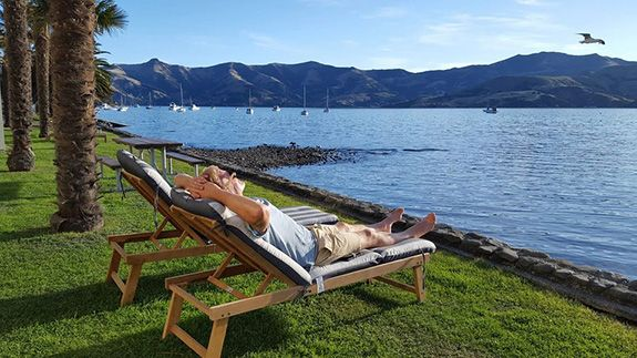 relax by Akaroa harbour