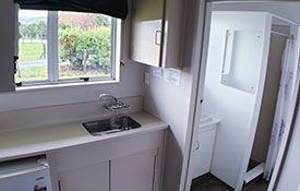 queen studio kitchen/bathroom