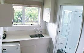 twin studio kitchen/bathroom