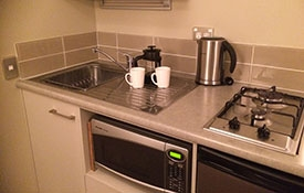 kitchen facilities including microwave, cooktops and fridge