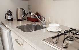 kitchen facilities include microwave, fridge and stoves