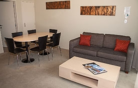 lounge and dining area of two-bedroom apartment