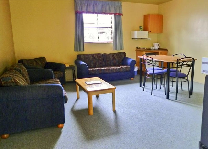 living and dining area of a unit