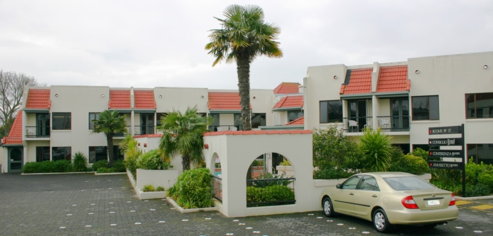 spacious hotel units with plenty of on-site parking