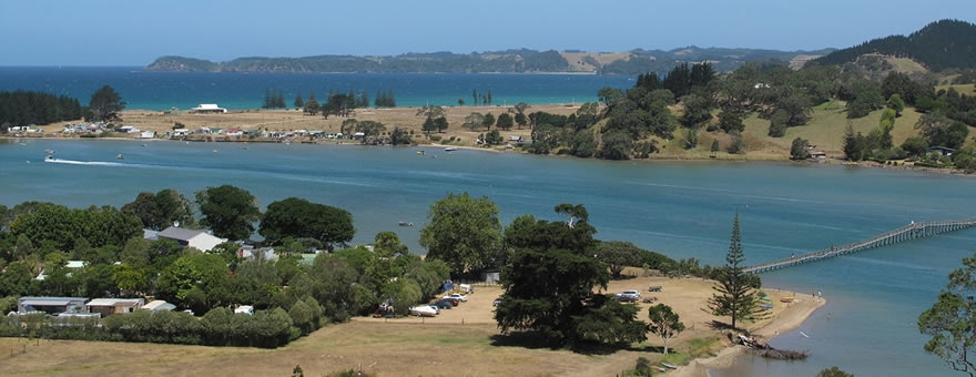 Whananaki Holiday Park accommodation surrounded by beautiful scenery