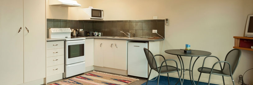 full kitchen facilities in all apartments