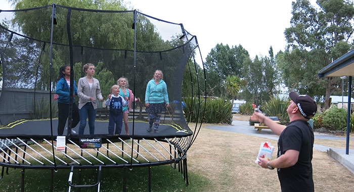 trampoline and swings for kids