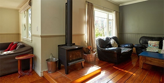log burner in the living area