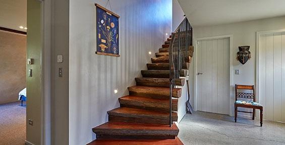 elegant rustic hardwood stairwell kanuka terrace
