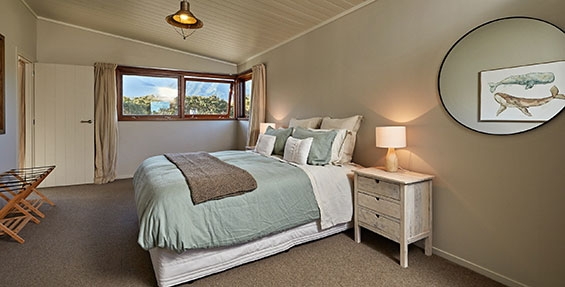 upstairs bedroom soft pastel natural comfort