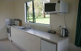 full kitchen facilities in two-bedroom units
