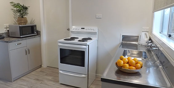 full kitchen facilities available in one-bedroom unit