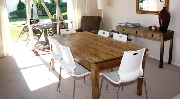 Family dining area inside a 3 bedroom holiday apartment at the Pacific Palms Resort in Papamoa, Tauranga