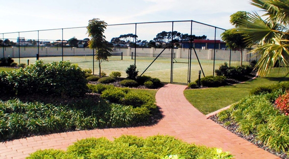 2 tennis courts at Pacific Palms Resort Accommodation in Papamoa, Tauranga