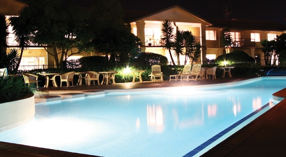 Poolside BBQ Areas at Papamoa's Pacific Palms Resort Accommodation, Tauranga