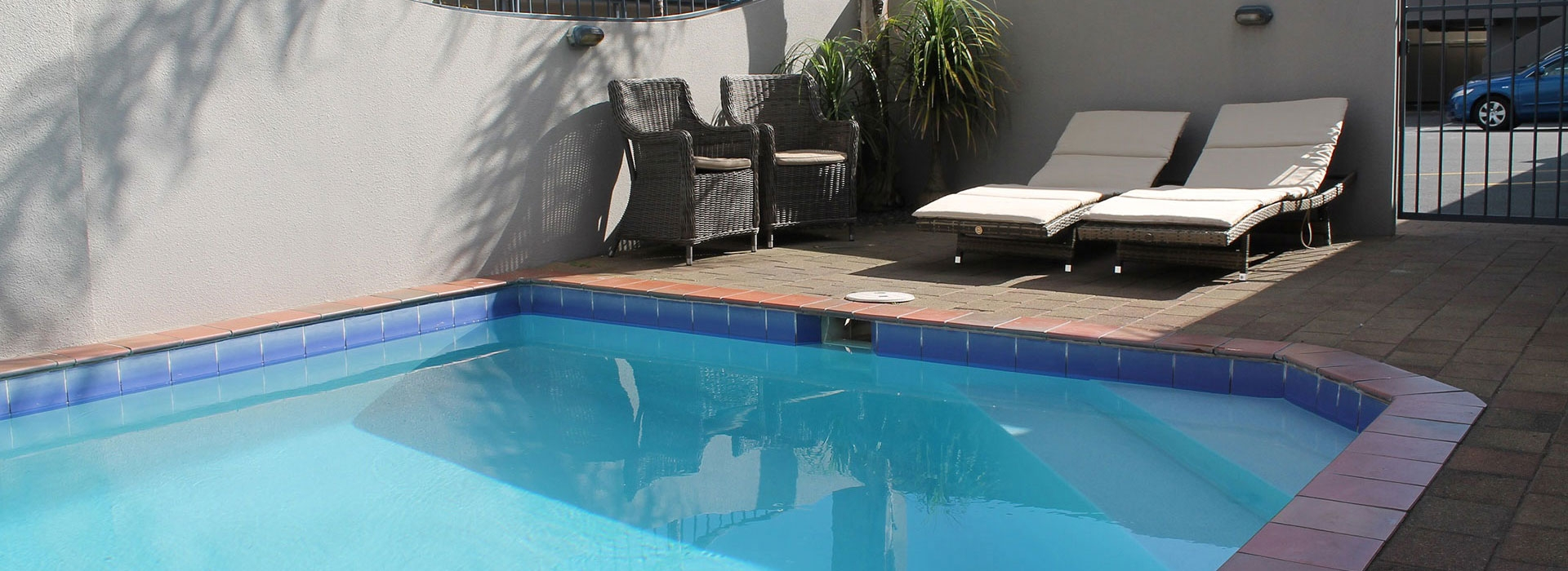 enjoy our large swimming pool and private spa pool