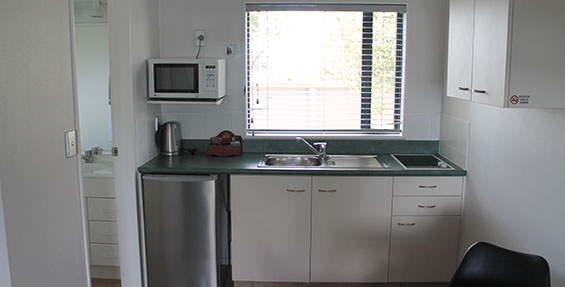 small kitchen with microwave, cooktops and fridge