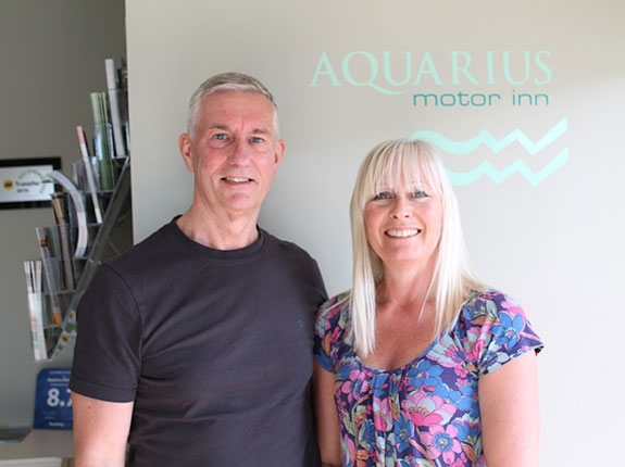 your hosts at Aquarius Motor Inn - Martyn (Kim) and Paula Brown