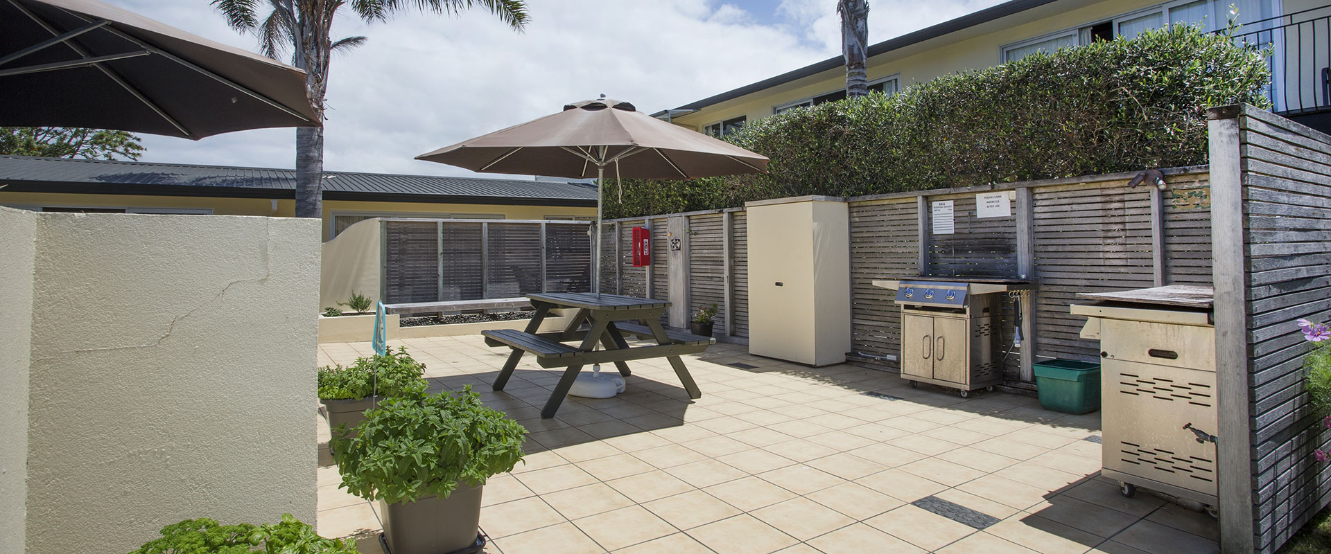 BBQ area with outdoor seating