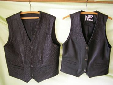 ostrich leather vests