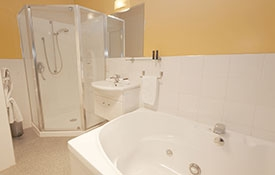 bathroom in two-bedroom motel