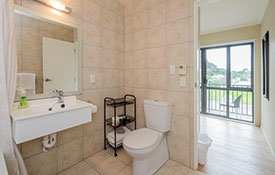 spacious studio unit with fully tiled ensuite bathroom