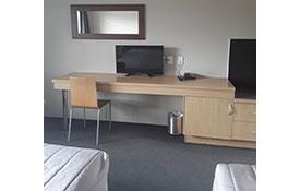 studio unit tv and desk