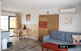 this two-bedroom unit can be interconnected with another unit to give extra space to families and groups
