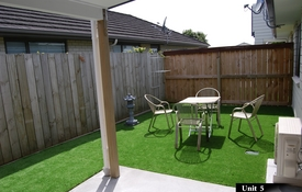 every unit has its own garden and outdoor seating at the back