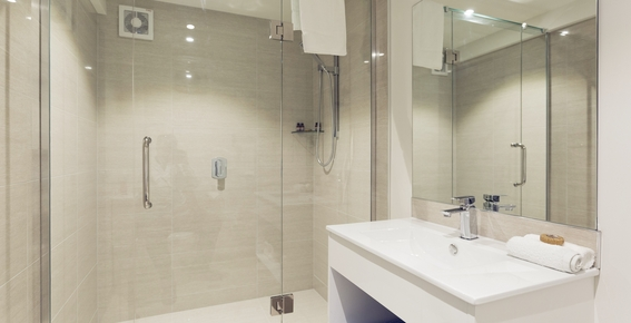 luxury fully tiled bathroom in every unit