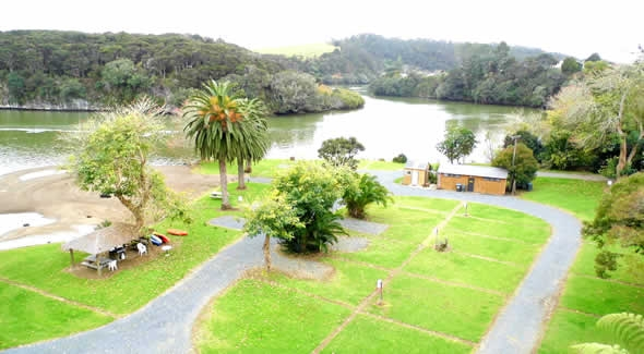 Image of the Haruru Falls and Waitangi Lagoon Waterfront Campground in Paihia
