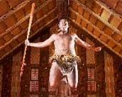 Image of a Maori performer in the Waitangi Treaty Grounds