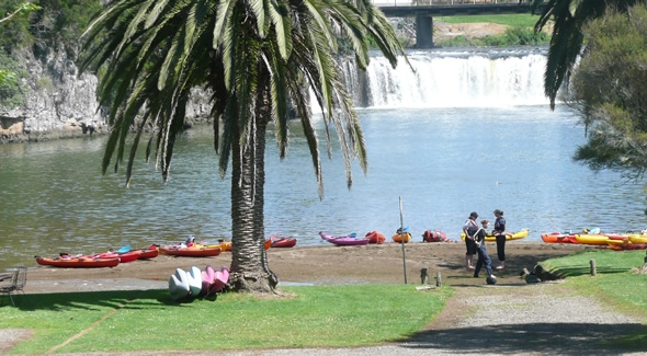 Image of Kayaks with life jackets at Haruru Falls campground in Paihia
